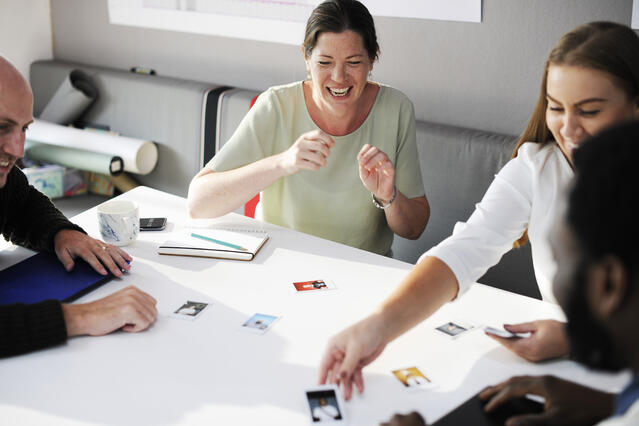group of employees playing a game